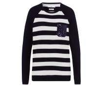 Pullover 'Leslie' nachtblau / weiß