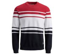 Strickpullover rot / schwarz / weiß