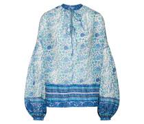 Bluse blau / jade / weiß
