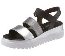 Sandalette schwarz / silber / weiß