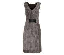 Kleid mit Kunstleder-Details taupe / schwarz