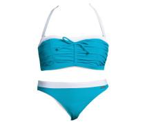 Bügel-Bandeau-Bikini hellblau / weiß