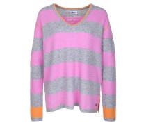Pullover grau / hellorange / pink