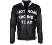 Lederjacke 'hot Road' schwarz / weiß