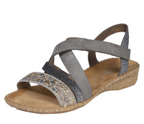 Sandalen mit Nietenbesatz 'Cross' grau