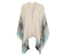 Schal mit Fransen-Saum türkis / grau
