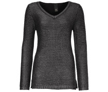 V-Pullover mit Effektgarn