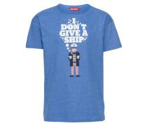 T-Shirt 'Give a Ship' blau / weiß
