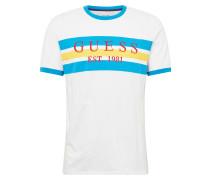 Shirt 'Garth' türkis / senf / weiß