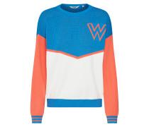 Pullover blau / orange / weiß
