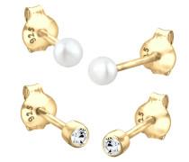 Ohrringe 'Kugel' gold / perlweiß
