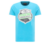 T-Shirt neonblau / grau / weiß