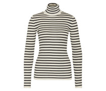 Streifen-Pullover aus Wolle schwarz / weiß