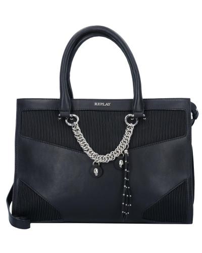 Handtasche Leder 36 cm schwarz