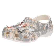 Sandale mit Blumenprint hellgrau