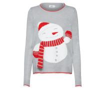 Pullover hellgrau / rot / weiß