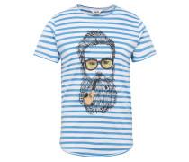 T-Shirt 'Malik' blau / schwarz / weiß