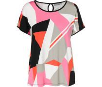 Blusenshirt orange / pink / schwarz / weiß