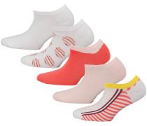 Sneakersocken gelb / rosa / melone / weiß