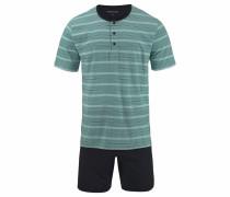 Pyjama kurz Shorty pastellgrün / schwarz