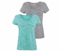 V-Shirts graumeliert / mint