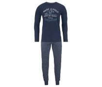 Pyjama lang mit Print dunkelblau