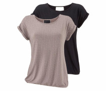 T-Shirts taupe / schwarz