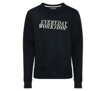 Sweatshirt 'wrkshp' navy / weiß