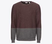Pullover 'struct.stripe c' grau / weinrot