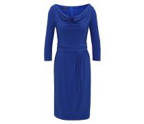 Jerseykleid mit Wasserfallkragen royalblau