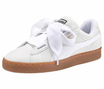 'Basket Heart Perf' Sneaker braun / weiß