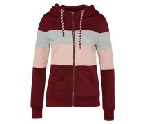 Sweatshirtjacke grau / rosa / rostrot