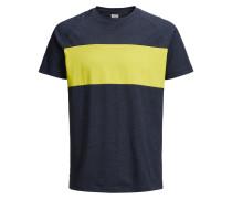 Colour-Blocking T-Shirt navy / gelb