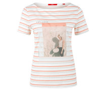 Shirt grau / koralle / weiß