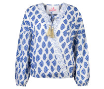 Bluse 'Amy the Blouse' blau / gold / weiß