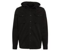 Hemd 'black Hooded Twill' schwarz