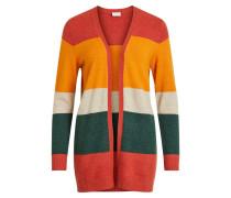Cardigan dunkelgrün / orange / rot