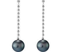 Ohrhänger 'Pearls' anthrazit / silber