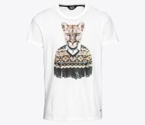 T-Shirt 'Saxe' braun / schwarz / weiß