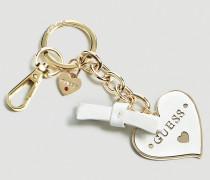 Schlüsselanhänger 'Charm Herz' gold / weiß