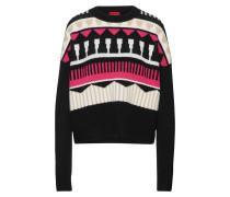 Pullover 'Sairisle' creme / pink / schwarz