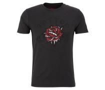 T-Shirt dunkelrot / schwarz / weiß