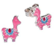 Ohrstecker 'Lama' blau / pink / silber