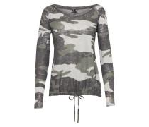 Langarm Shirt 'explore' khaki / silber