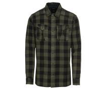 Hemd 'bleak' khaki / schwarz