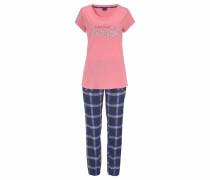 Flanell-Pyjama mit karierter Longpants