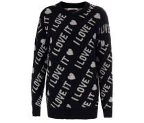 Pullover mit allover-owrding schwarz