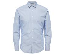 Kariertes Slim Fit Hemd blau / weiß