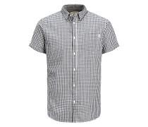 Lässiges Kurzarmhemd schwarz / weiß