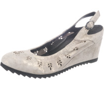 Sandaletten 'Cita' greige / schwarz